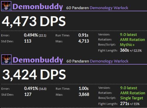 Demonology Warlock DPS Shadowlands