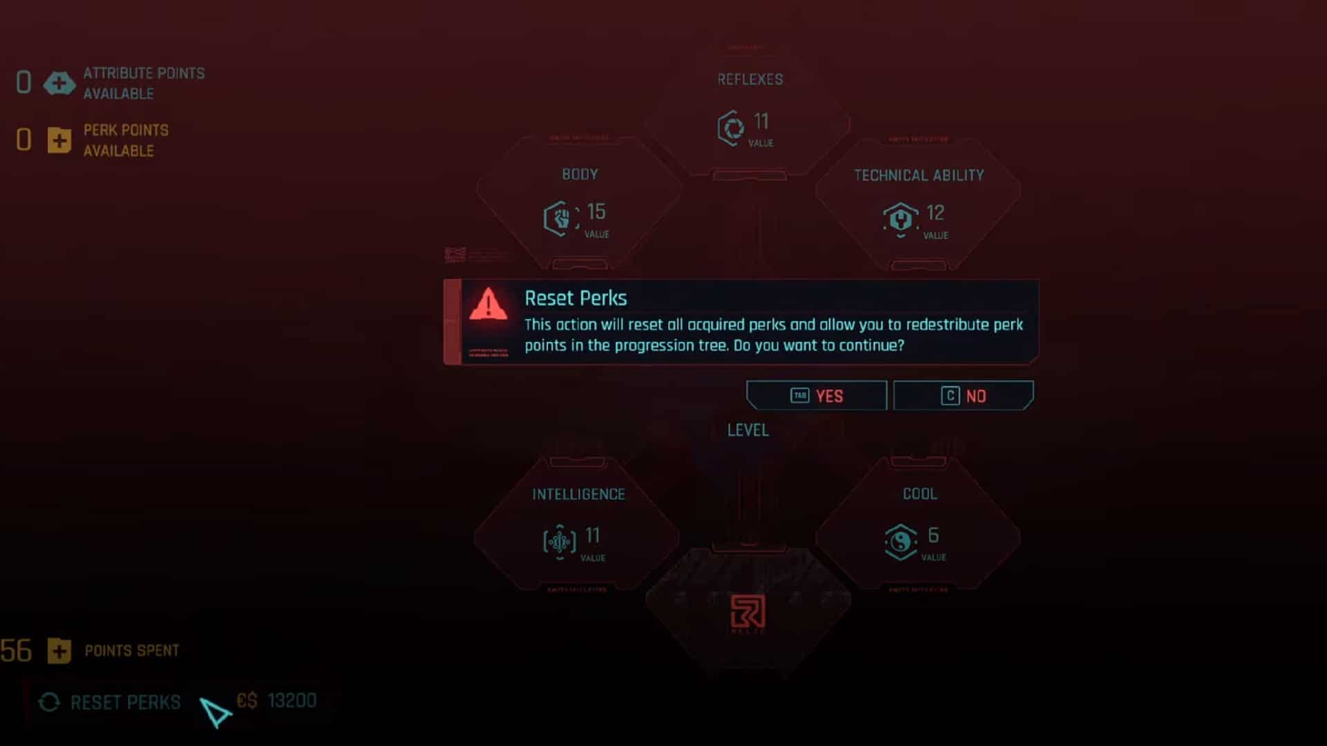 W nowej aktualizacji Cyberpunk 2077 będzie można zresetować Perki jednym kliknięciem - ale nie Atrybuty.