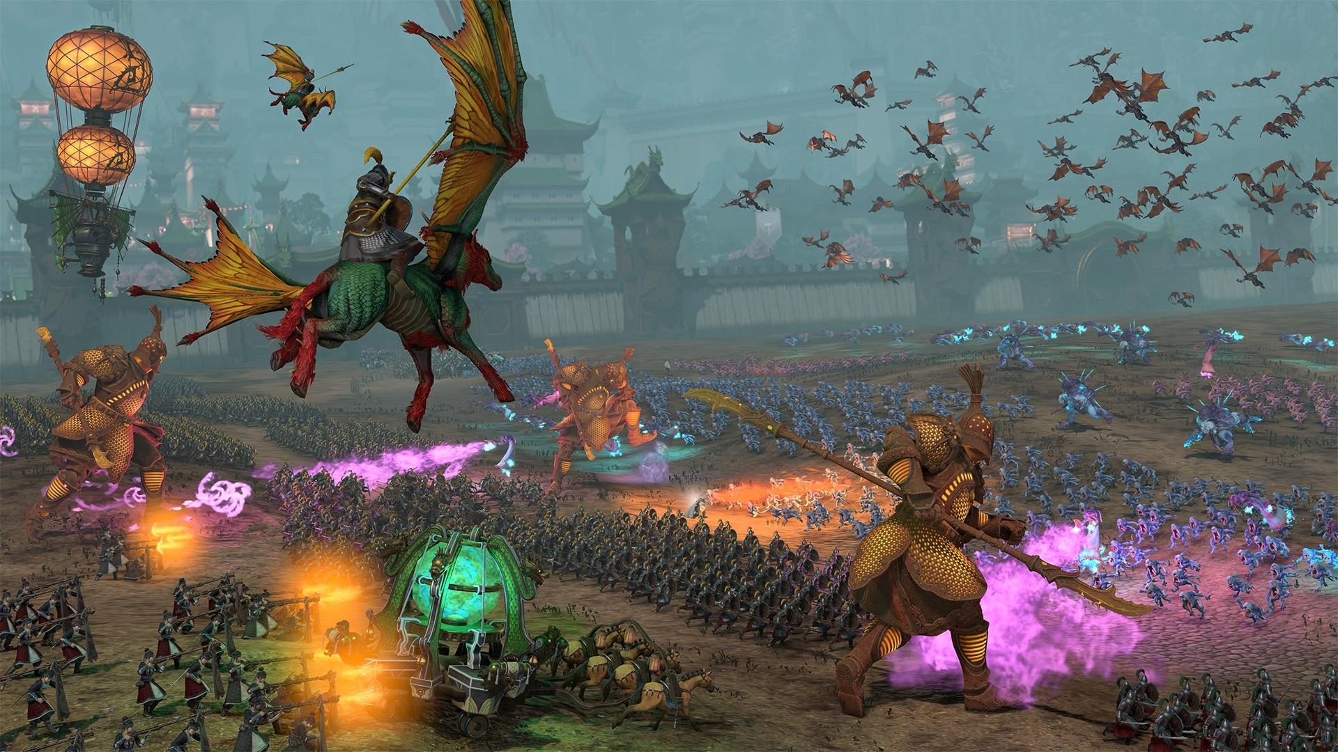 Cathay polega na defensywnej mieszance myśliwców dystansowych, magii, jednostek latających i gigantycznych wojowników.